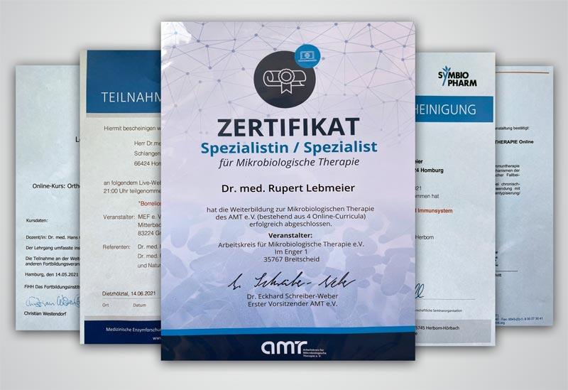 Weiterbildungszertifikate Dr. Lebmeier