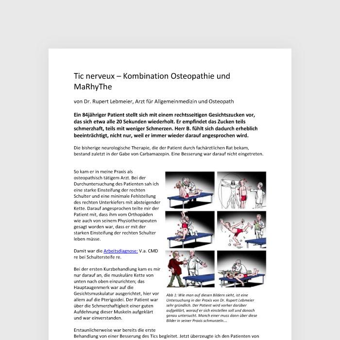 Tic nerveux - Kombination Osteopathie und MaRhyThe